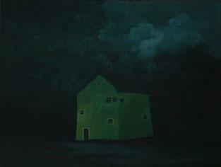 """Martin Guido Becker, """"Grünes Haus"""", 2016, Öl/Lwd, 30/40 cm"""