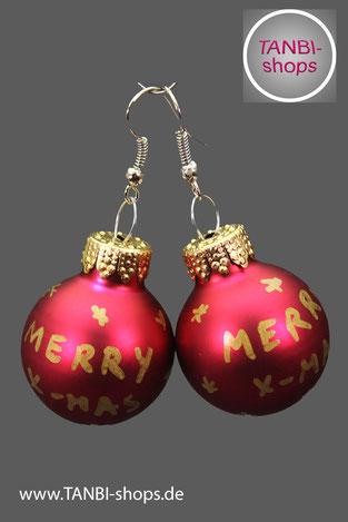 Weihnachtsohrringe, Ohrringe, Weihnachtskugeln, merry x.mas, Wichtelgeschenk, wichteln, Nikolausgeschenk, Weihnachtsgeschenk, Adventsschmuck