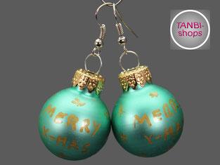 Weihnachtsohrringe, lindgrün, Adventskalenderfüllung, Nikolausgeschenk, Wichtelgeschenk, Adventskalender füllen, Weihnachtsschmuck