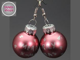 Weihnachtsohrringe, Ohrringe, Weihnachtskugel, Nikolausgeschenk, Adventskalenderfüllung, Wichtelgeschenk, wichteln, Weihnachtsgeschenk, Adventsschmuck