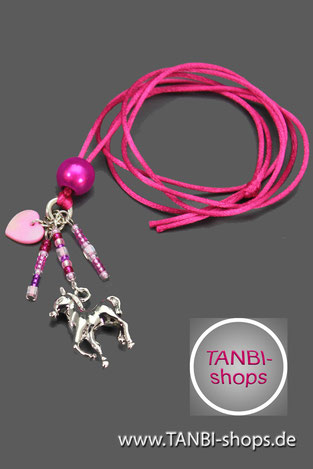 Kinderkette, Einschulungsgeschenk, Pferdekette, Pferdefan, Pferdeanhänger, Schultütenfüllung, Pferdeaccessoire, Pferdeanhänger, Mädchenkette, pink, Pferd, Herz