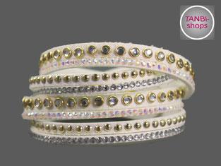 Wickelarmband, Armband, Armband mit Strass, Kunstwildleder, Geschenk