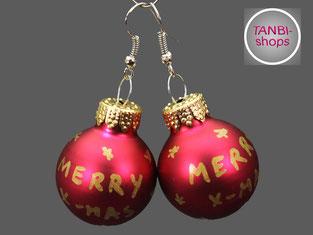 Weihnachtsohrringe, merry x-mas, Ohrringe, Weihnachten, Wichten, Wichtelgeschenk, Nikolausgeschenk, Adventskalenderfüllung, Weihnachtsschmuck