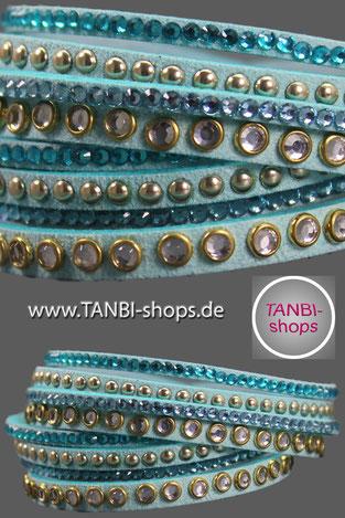 Wickelarmband, Wildlederarmband, Lederarmband, Kunstwildlederarmband, Kunstlederarmband, Armband mit Strass, Strassarmband, türkis