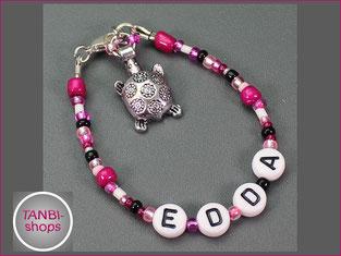 Namensarmband, Kinderarmband, Schildkröte, pink, rosa, Kindernamensarmband