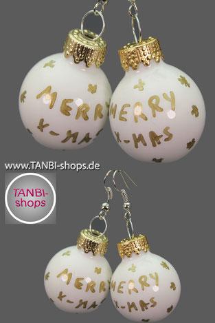 Weihnachtsohrringe, Weihnachtskugeln, merry x-mas, Weihnachtsgeschenk, Adventskalenderfüllung