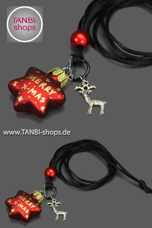 Weihnachtskette, Rentier, Stern, merry x-mas, Weihnachtsgeschenk, Nikolausgeschenk, Wichtelgeschenk, Weihnachtsschmuck