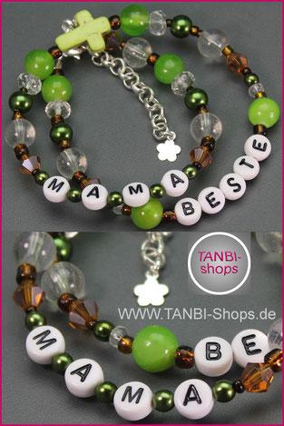Mama, Mutter, Muttertag, Geschenk, Wickelarmband, Armband, grün, Kreuz, 19.99