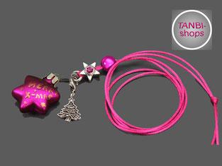 Weihnachtskette, Weihnachtsstern, Weihnachten, Weihnachtsgeschenk, Nikolausgeschenk, Wichtelgeschenk, Weihnachtsbaum, Stern, pink, Kinderkette, Weihnachtskette