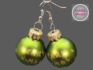 Weihnachtsohrringe, Weihnachtskugelohrringe, Nikolausgeschenk, Wichtelgeschenk, Adventskalender füllen, Adventskalenderfüllung, Weihnachtsschmuck, merry x-mas, grün