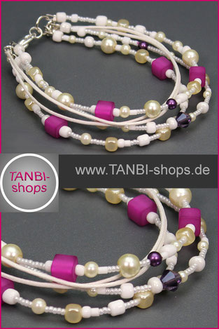 Armband,mehrreihiges Armband, Pink, weiß, 21.99
