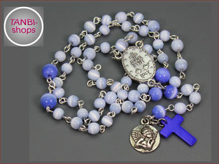 Kinderrosenkranz, Junge, Rosenkranzkette, Geschenk, Erstkommunion, Taufe, Rosenkranz, blau, Kommunion