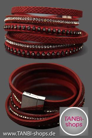 Wickelarmband, Lederimitat, Strass, Armband, Leder, Glitzer, rot