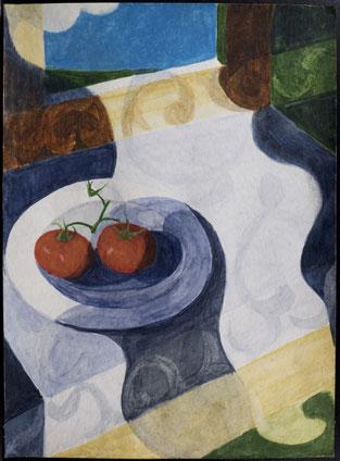 francois beaudry gouache et aquarelle peinture nature morte série table bleue étude 5