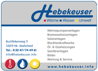 Firma Hebekeuser aus Seelscheid - Spender 2011, 2015 & 2016