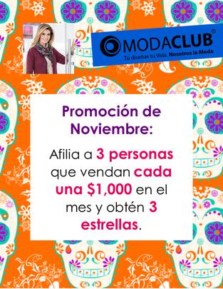 promocion de noviembre 2014 moda club, afilia y gana estrellas