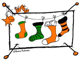 Drei von vier Socken verfehlen das Ziel - fröhliche Weihnachten, (c) Bianca Fuhrmann, www.bianca-fuhrmann.de
