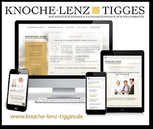 Grafik: Mobilwebsite der STEUER- UND RECHTSANWALTSSOZIETÄT KNOCHE-LENZ & TIGGES, Hamburg - Fachanwalt & Steuerberater / Steuerberatung