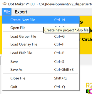 Dot  Maker file menu