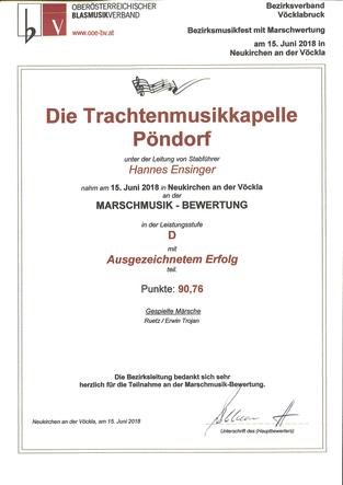 Marschwertung TMK Pöndorf 2018 Neukirchen an der Vöckla