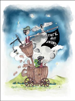 Illustration pour affiche association café des enfants