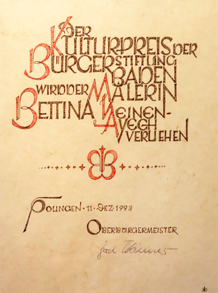 Award certificate from the Baden Foundation, 1993