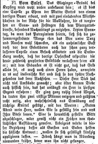 Auch das Bründl wurde von  ungebetenenen Gästen heimgesucht (Linzer Volksblatt, 9.7.1871)