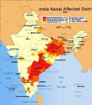 De markerede felter viser Naxaliternes operationsområder