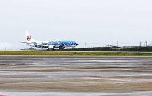 民間機として初めて新石垣空港に着陸した歴史的瞬間(20日午後2時17分)