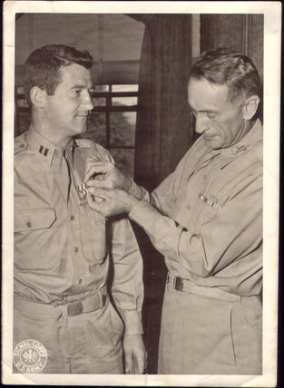 1st Lt Higgins got the Silver Star awarded for exceptional bravery during the battle of Sigolsheim Dec. 10 to Dec. 12, 1944 (Captain Higgins in Warm Springs, GA in August 1945 (Photo Courtesy Higgins Family)