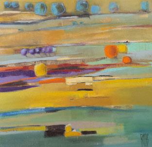 """Légende: """"Arbres oranges""""- acrylique sur toile- (100x100 cm)"""