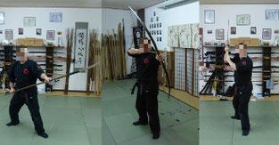 Schwertlanze (Naginata), Bogen und Schwert (Katana), Im Hintergrund des Schrein unseres Dojo. Traditionelle Kampfkunst in Marl, Kampfsport, Stockkampf, Bojutsu, Schwertkampf, Kenjutsu