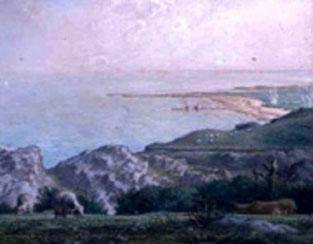 Vue sur la plage de Nacqueville depuis Landemer - peinture de Jean-François Millet