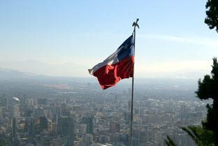 Santiago de Chile, Südamerika, Flagge, Fahne, Chile, Die Traumreiser