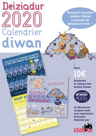 Deiziadur Diwan 2020 Calendrier Diwan Expressions bretonnes illustrations Krank Du