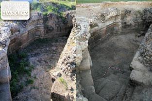 La cripta del mausoleo antes y después de la intervención del pasado junio