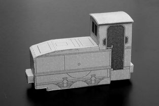 Oberursel Motorlokomotive in grauer Farbgebung der Merck´schen Kleinbahn, vereinfachte Ausführung nach der Druckvorlage vom 2015