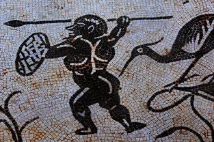 Detalle de mosaico en una villa de Itálica. ©Emilio Castro