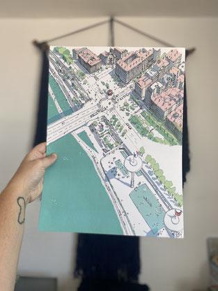 Vue de Lyon - Dessiné à la main par Emilie Ettori