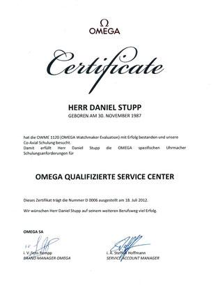 Daniel Stupp Omega zertifizierter Uhrmachermeister, Zerfifizierte OMEGA Werkstatt
