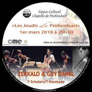 Quatuor Zerkalo et Guy Danel à la chapelle de Profondsart, le 1er mars 2018