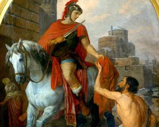 Die wohl bekannteste Legende des Hl. Martin:  Das Teilen des römischen Umhangs*