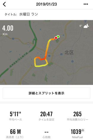 2019年1月23日ジョギングコース