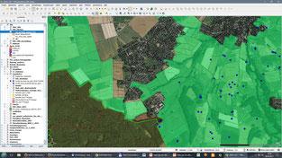 Benutzeroberfläche von QGIS 2.18 (Screenshot)
