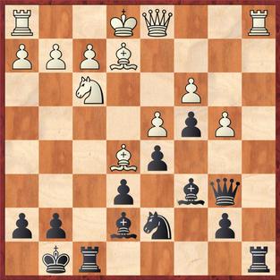 Kessler - Margenberg: Vossi erspähte hier das starke 16. ... Lxb4! was ihm nach der schwachen weißen Antwort 17.0-0 zwei Merhbauern und in der Folge den Sieg einbrachte