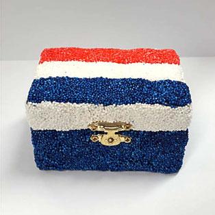 Foam Clay basteln: Holzbox -Frankreich Flagge
