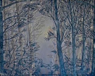 Oil, Mondlicht, Wald, Nacht, grau blau, Bäume, Natur, Äste, Divo Santino, Winternacht, Vollmond, Lichtkegel, Baumreihen