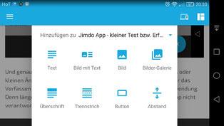 Das Bild zeigt Jimdo CMS via android handy