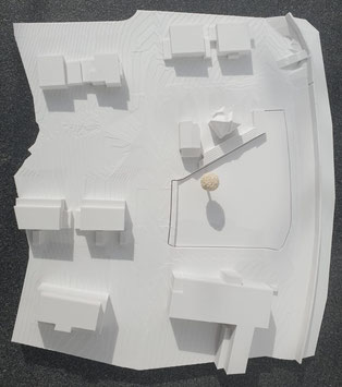 3D-Druck Umgebungsmodell in 15- facher Ausfertigung im Maßstab 1:500 inklusive Einsatzplatten aus Polystyrol