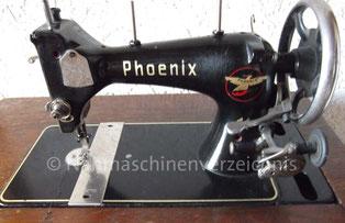 Phoenix 11, Geradestich-Schwingschiffchennähmaschine, Flachbett, Fußantrieb, Anbaumotor möglich, Hersteller: Phoenix Nähmaschinen AG Baer und Rempel, Bielefeld, Hergestellt am 8.6.1939 (Bilder: O. Günther)